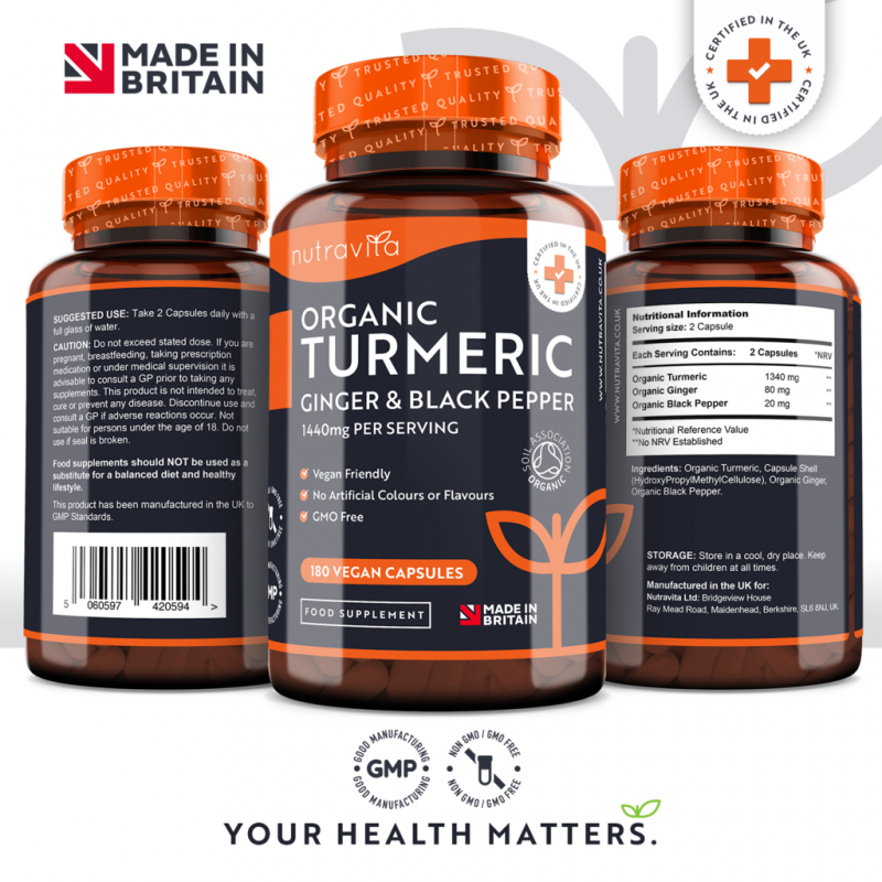 Organic Turmeric Curcumin with Ginger & Black Pepper